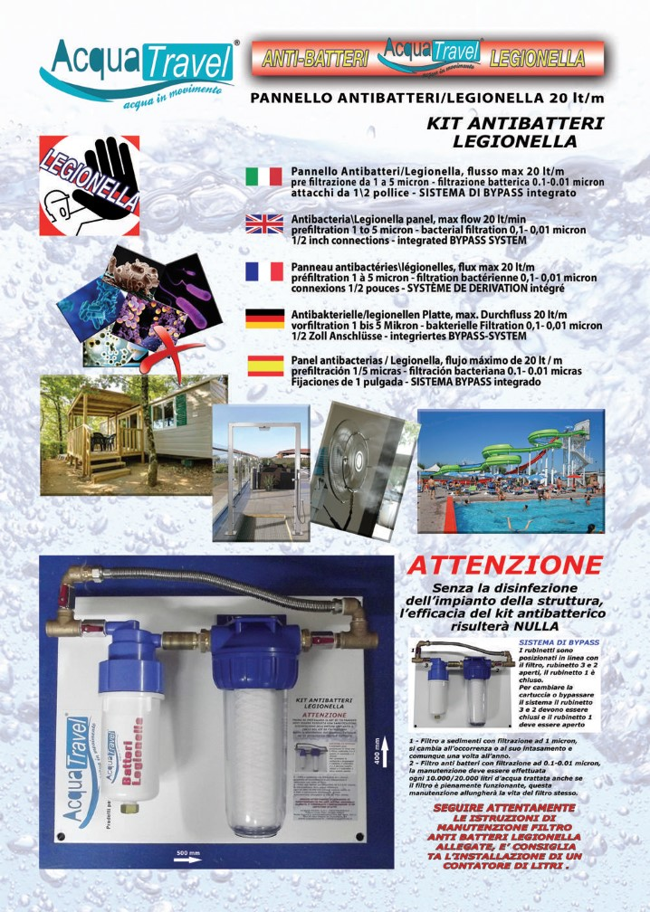 Pannello anti batteri legionella
